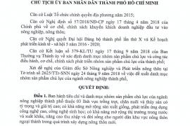 Quyết Định Số 4545/Qđ-Ubnd, Ngày 15 Tháng 10 Năm 2018 Của Ủy Ban Nhân Dân Thành Phố Hồ Chí Minh Về Ban Hành Danh Mục Nhóm Sản Phẩm Chủ Lực Ngành Nông Nghiệp Thành Phố