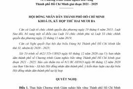 Nghị Quyết Số 13/2020/Nq-Hđnd Ngày 09 Tháng 12 Năm 2020 Của Hội Đồng Nhân Dân Thành Phố Về Chương Trình Giảm Nghèo Bền Vững Thành Phố Hồ Chí Minh Giai Đoạn 2021 - 2025