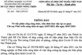 Thông báo số: 693/TB-CCPTNT về việc phân công công chức, viên chức làm việc tại cơ quan