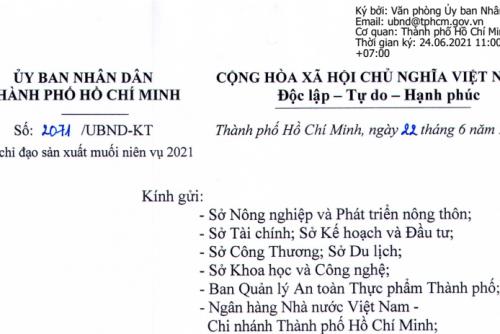 Công văn số 1465-BNN-KTHT ngày 12 tháng 3 năm 2021 của Bộ Nông nghiệp và Phát triển nông thôn về việc chỉ đạo sản xuất muối niên vụ 2021
