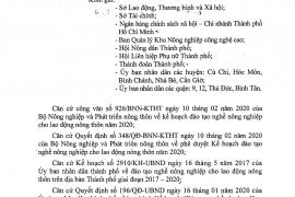 triển khai nhiệm vụ, kế hoạch  đào tạo nghề nông nghiệp cho lao động nông thôn năm 2020 trên địa bàn Thành phố Hồ Chí Minh