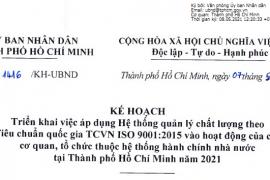 Kế hoạch số 1416/KH-UBND triển khai việc áp dụng hệ thống quản lý chất lượng theo tiêu chuẩn quốc gia TCVN ISO 9001:2015 vào hoạt động của các cơ quan tổ chức thuộc hệ thống hành chính nhà nước tại Thành phố Hồ Chí Minh năm 2021