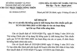 Kế hoạch 89/KH-CCPTNT ngày 19 tháng 02 năm 2021 về duy trì và cải tiến hệ thống quản lý chất lượng theo tiêu chuẩn quốc gia TCVN ISO 9001:2015 và ISO điện tử vào các hoạt động tại chi cục phát triển nông thôn