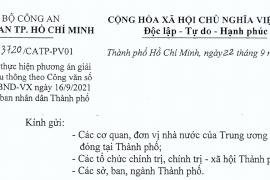 Công văn số 3086/UBND-VX ngày 16 tháng 9 năm 2021 của Ủy ban nhân dân Thành phố Hồ Chí Minh về Thực hiện phương án giải quyết lưu thông